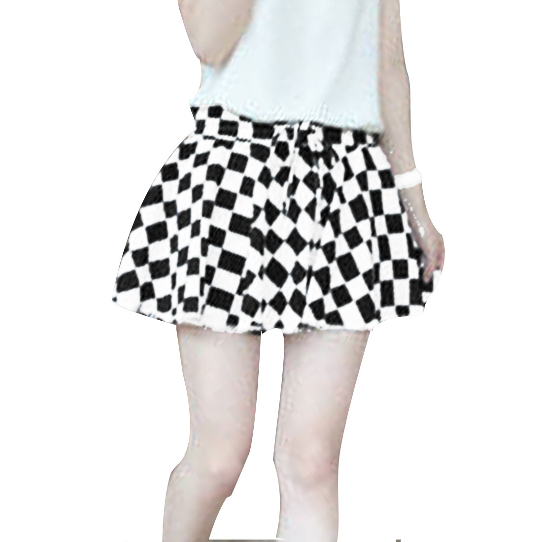 Lady Fashion Elastic Drawstring Waist Check Pattern Black White Short Skort XS