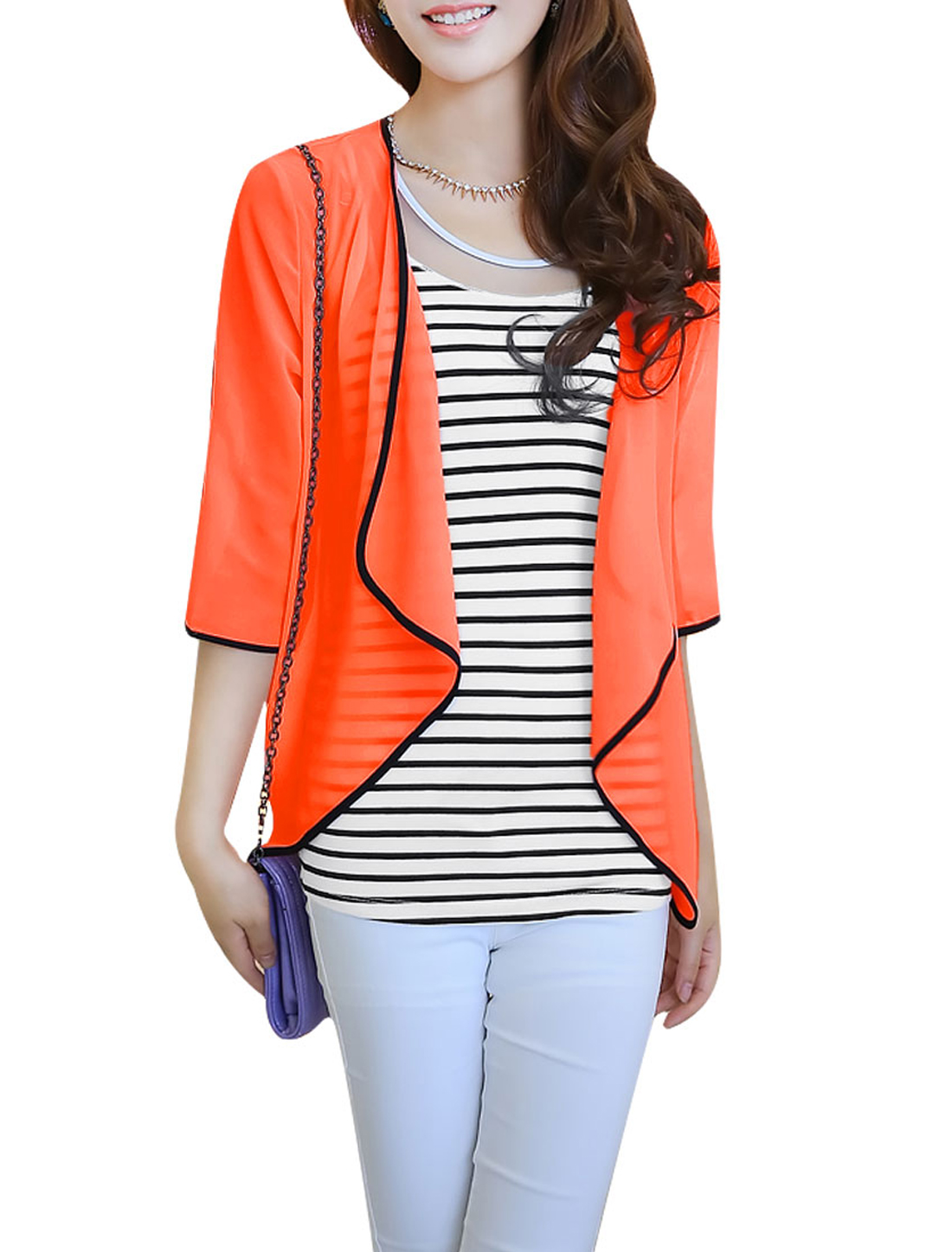 Ladies Front Opening Cardigan & Stripes Tank Top Orange White S