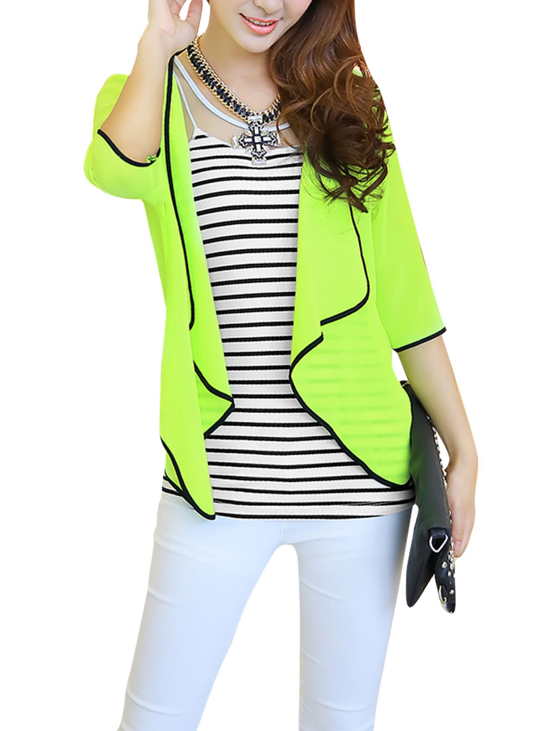 Ladies 3/4 Sleeve Cardigan & Mesh Splice Tank Top Lime White S