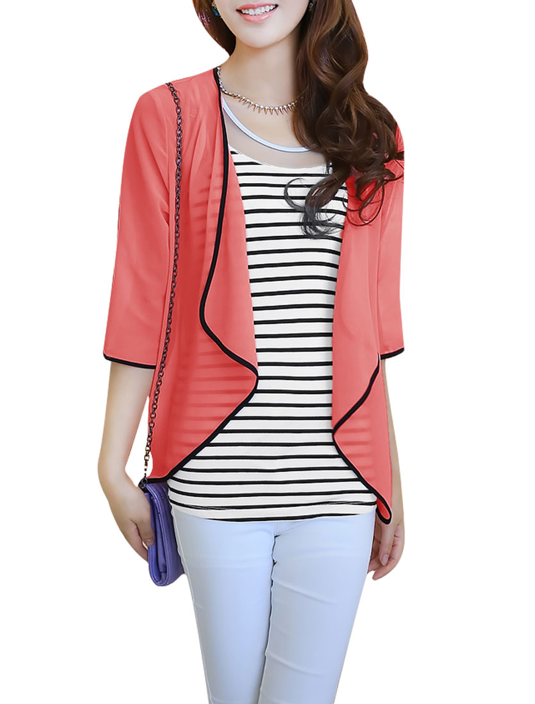 Ladies Semi Sheer Cardigan & Pullover Tank Top Watermelon Red White S