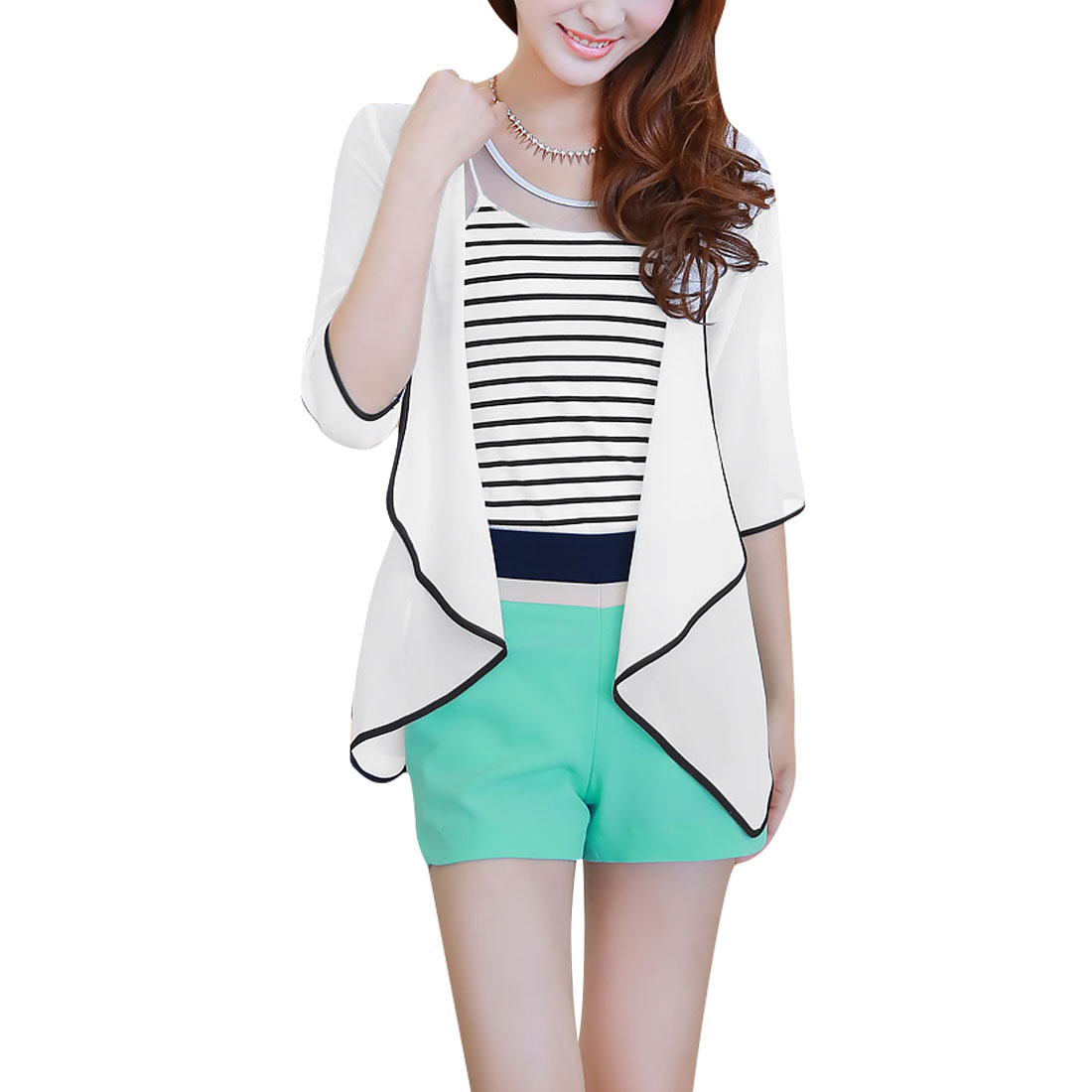 Ladies Open Front Cardigan & Mesh Patchwork Tank Top White Black S