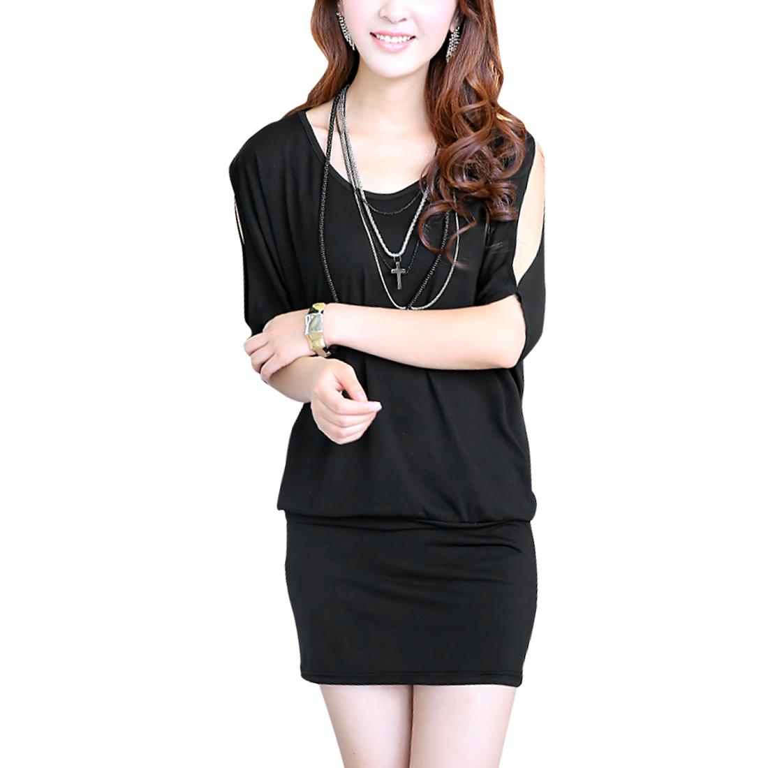 Ladies Scoop Neck Cut Out Mini Dress Black M