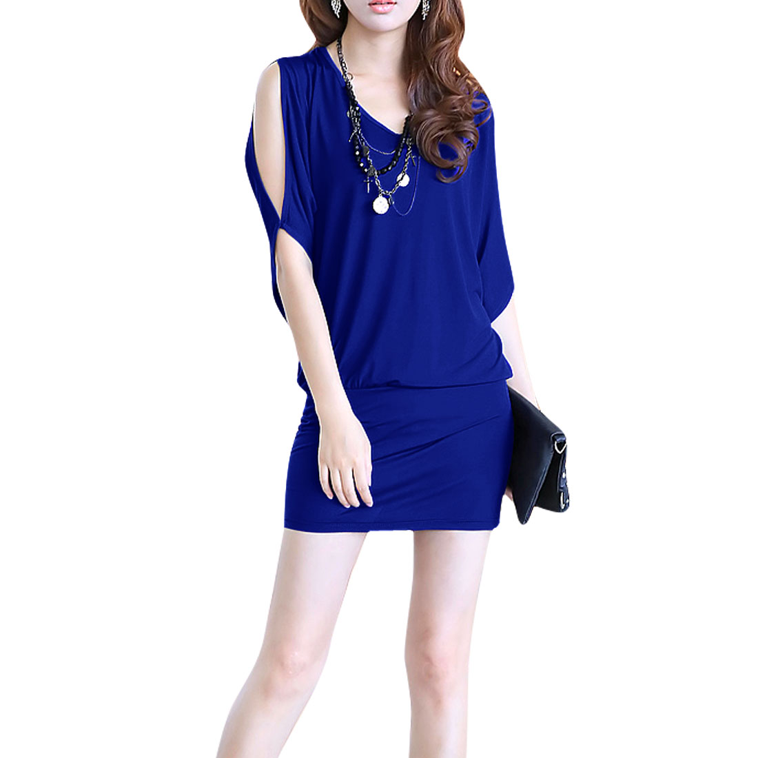 Ladies Half Sleeve Stretchy Dress Royal Blue M