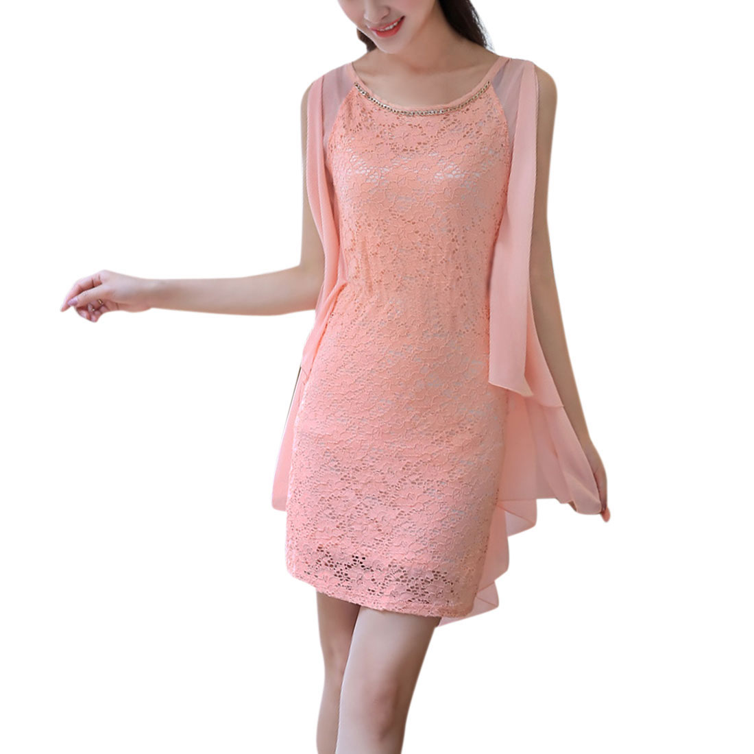 Ladies Round Neck Lace Panel Straight Sexy Chic Dress Pink XS