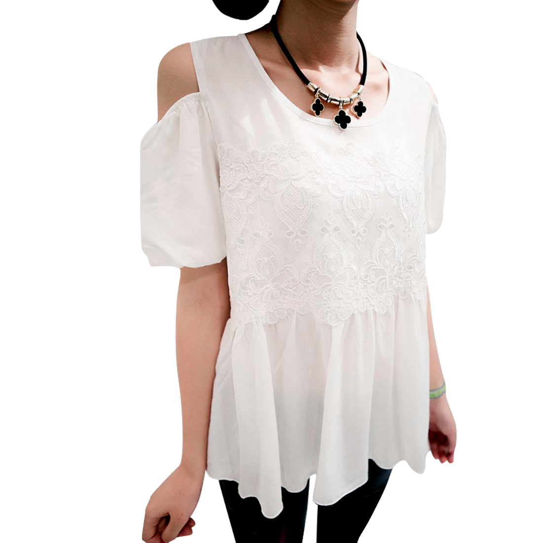 Lady White Round Neck Off-Shoulder Embellished Design Pullover Top XS