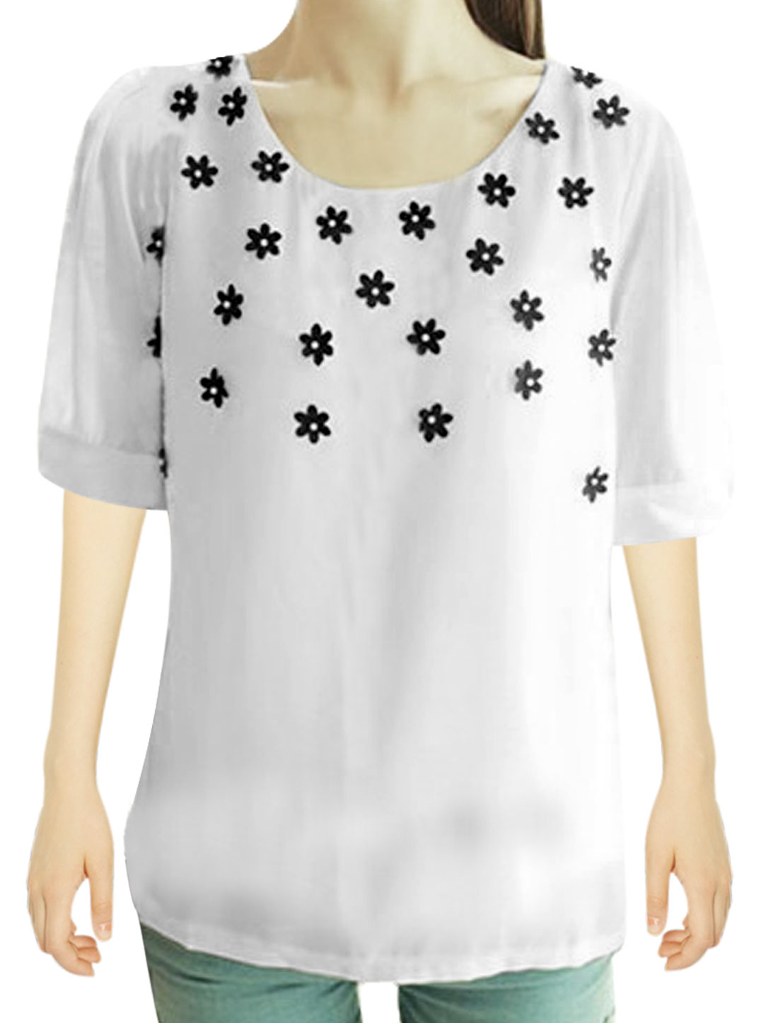 Ladies Round Neck Pullover Solid Flower Decor Top Shirt White XS