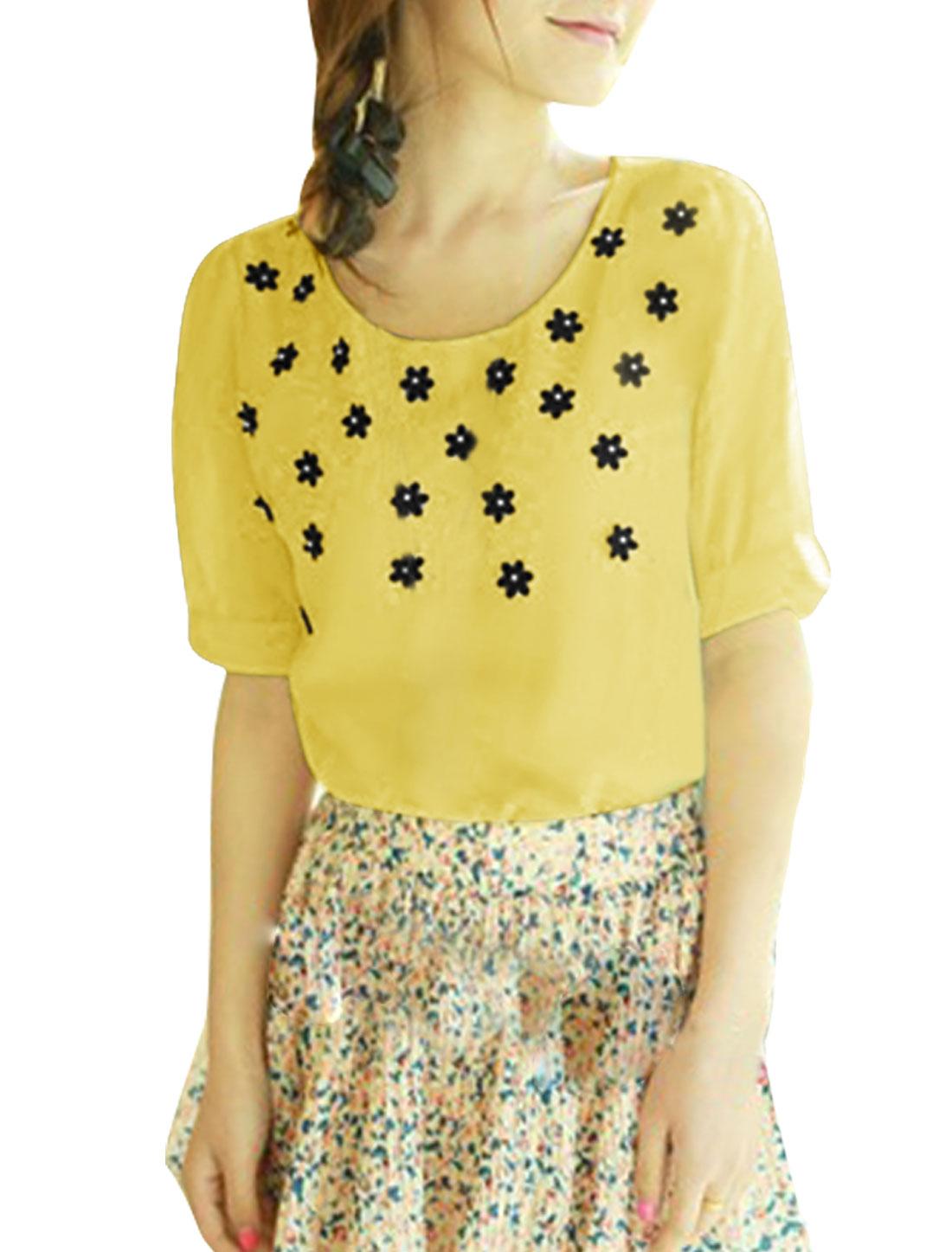 Ladies Round Neck Short Sleeve Semi Sheer Top Shirt Yellow XS