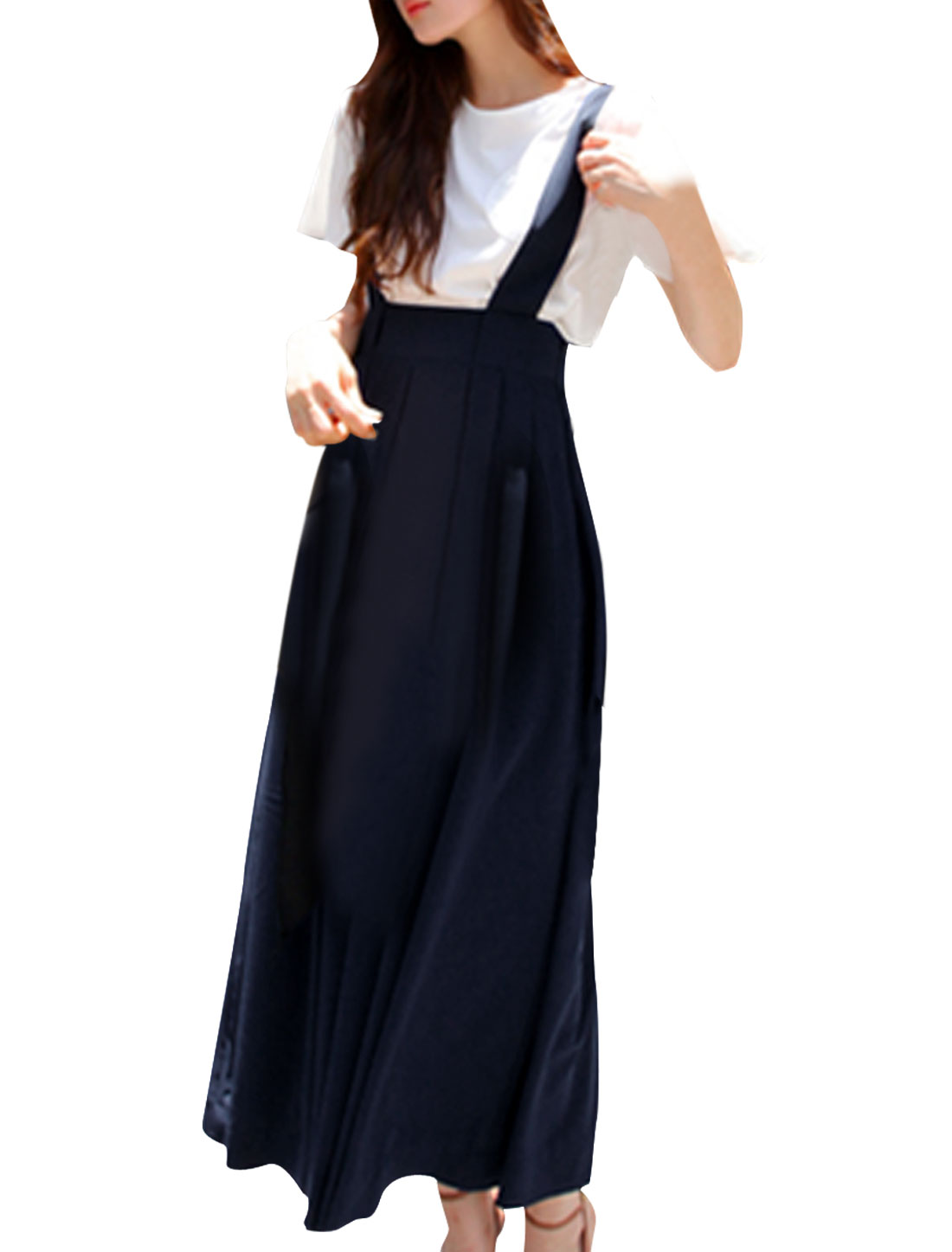 Lady Dark Blue Hidden Zipper Side Pleated Adjustable Suspender Skirt S