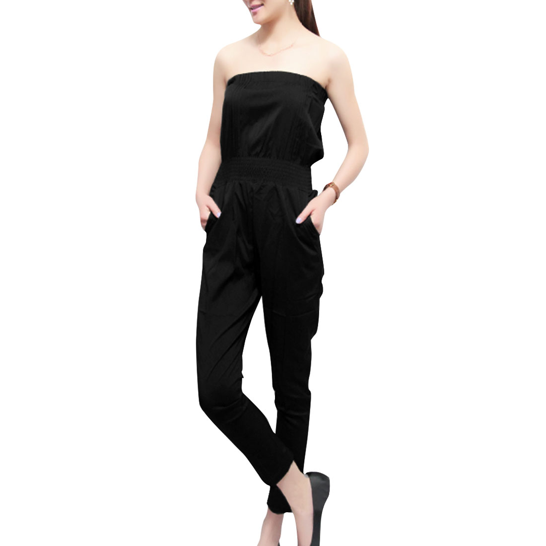 Lady Black Strapless Off-Shoulder Elastic Waist Slant Pocket Jumpsuit XS
