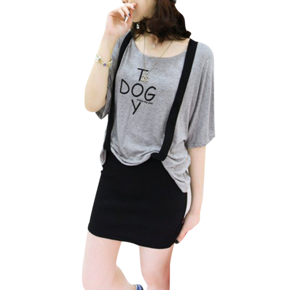 Lady Gray Batwing Sleeve Letter Prints Top w Black Suspender Skirt S