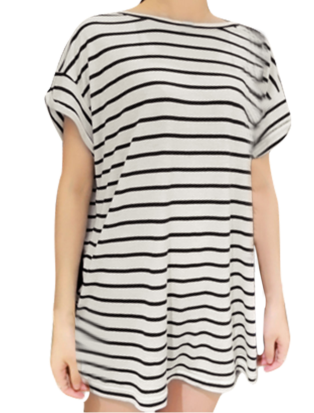 Lady Stripes Prints Short-sleeved Textured Tops Blouses Black White M