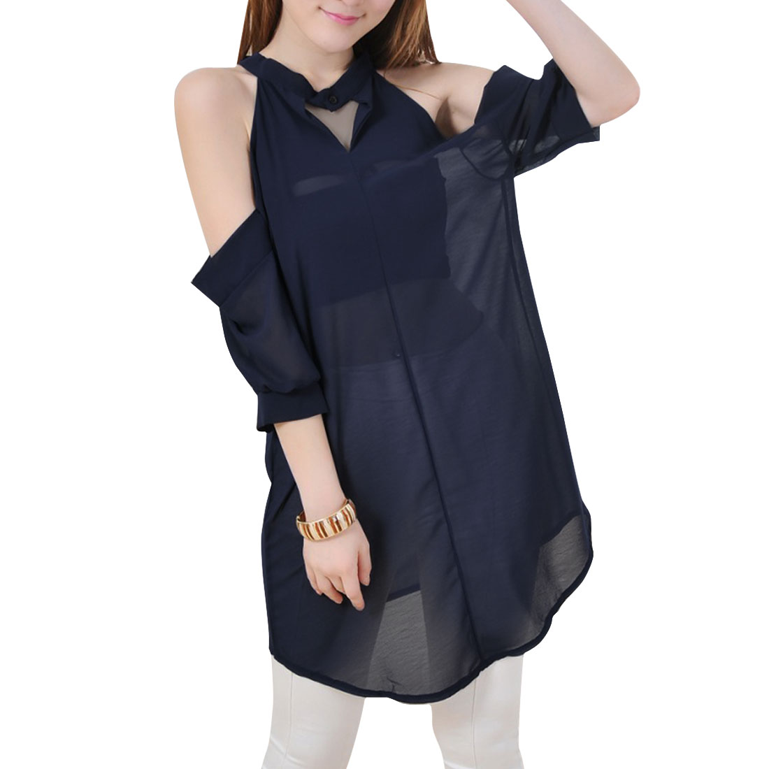 Women Stand Collar Cut Out Semi Sheer Casual Blouse Navy Blue S