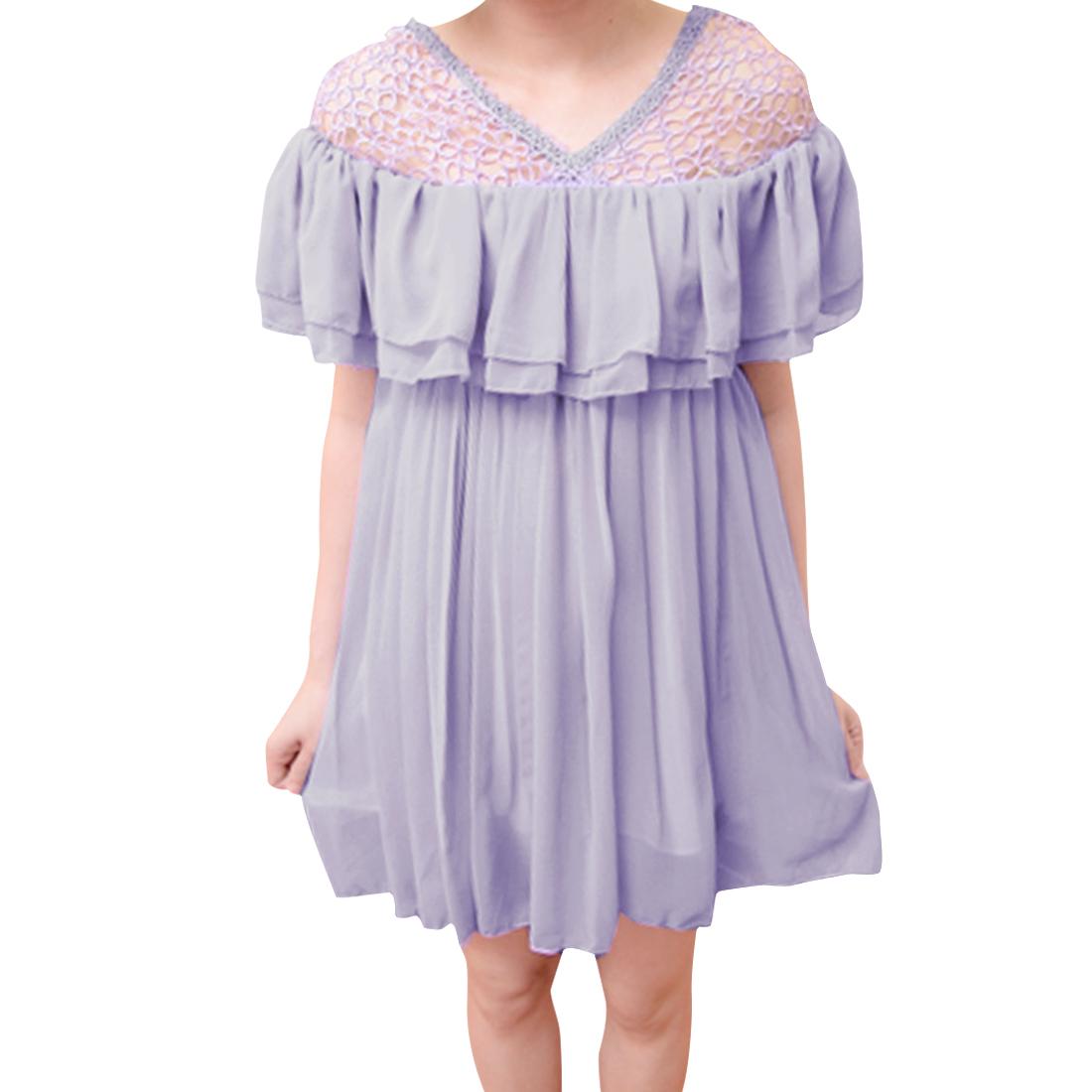Women V Neck Sleevless Flouncing Crochet Dress Lilac XS