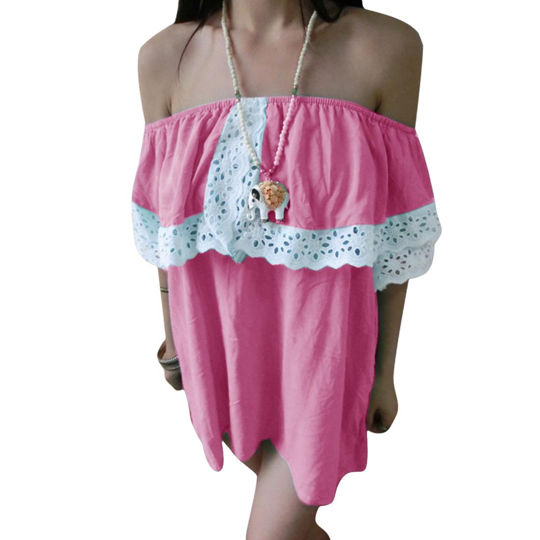 Women Off Shoulder Short Sleeve Flouncing Blouse Pink S