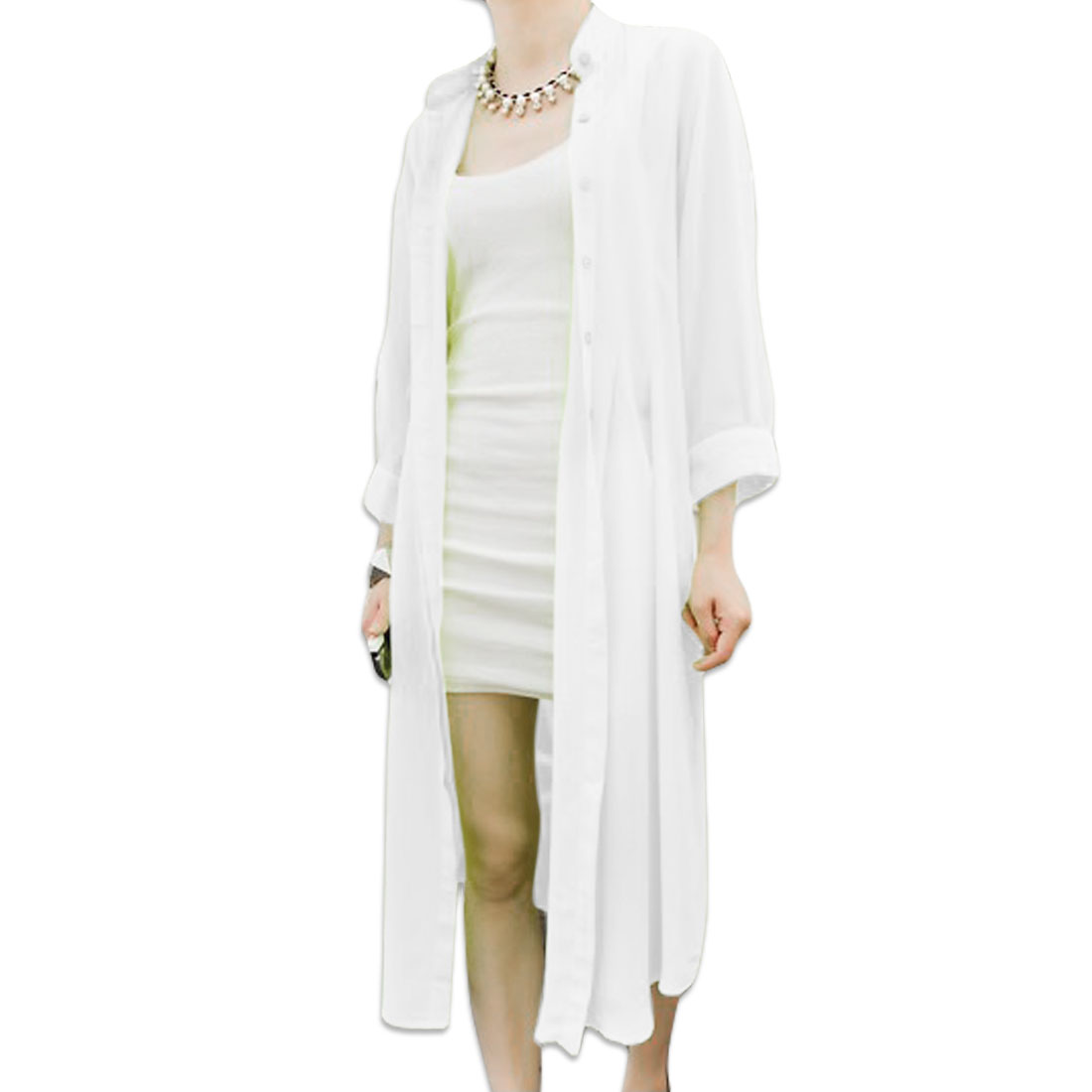 Lady Short Sleeve Chiffon Buttons Front Cropped Trench Cardigan White XS