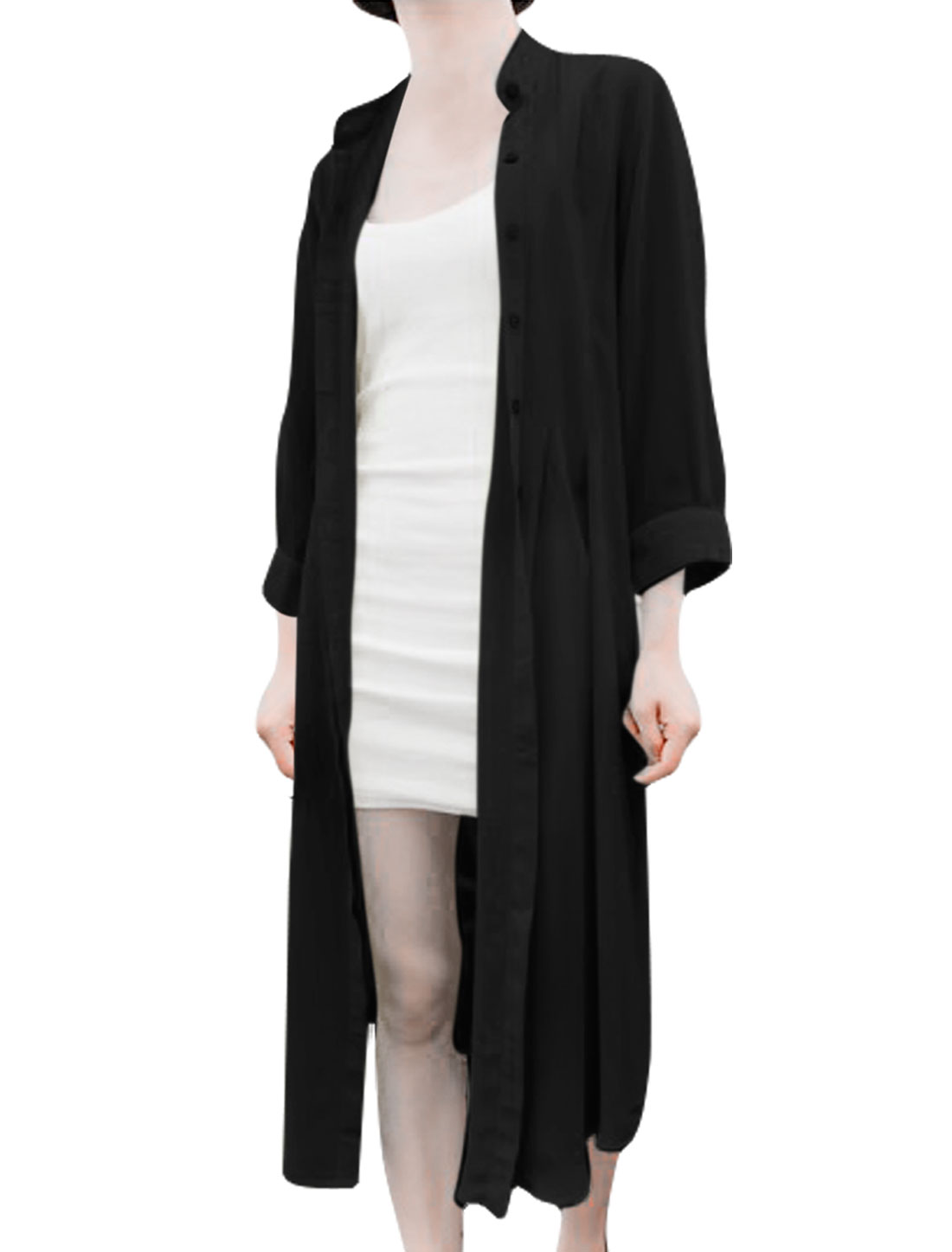 Ladies Chiffon Stand Collar Buttoned Front Long Cardigan Black XS