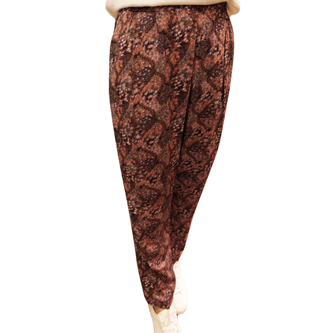 Ladies Elastic Waist Floral Prints Cropped Pants Brown XS