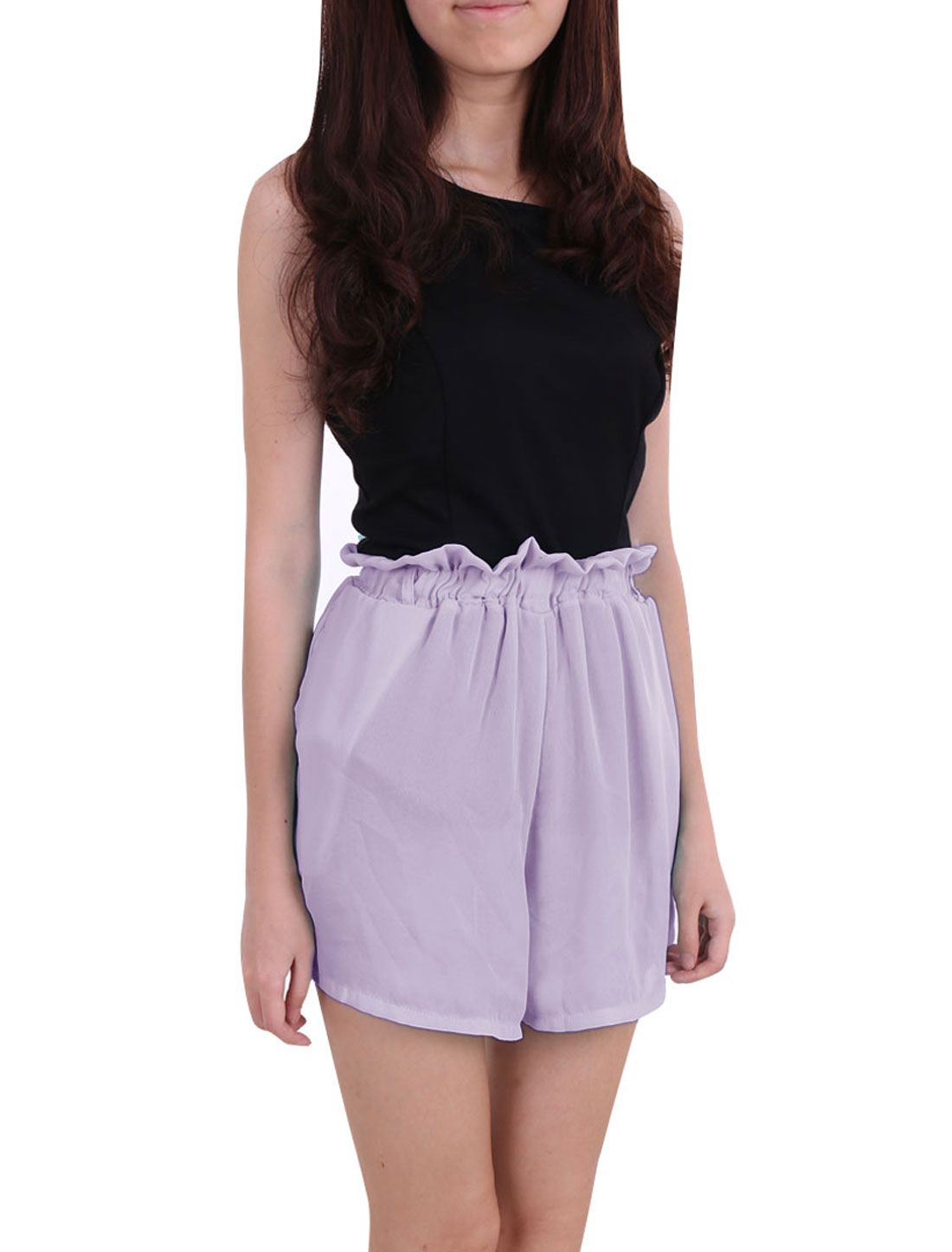 Women Ruffled Elastic High Waist Chiffon Mini Shorts Purple XS