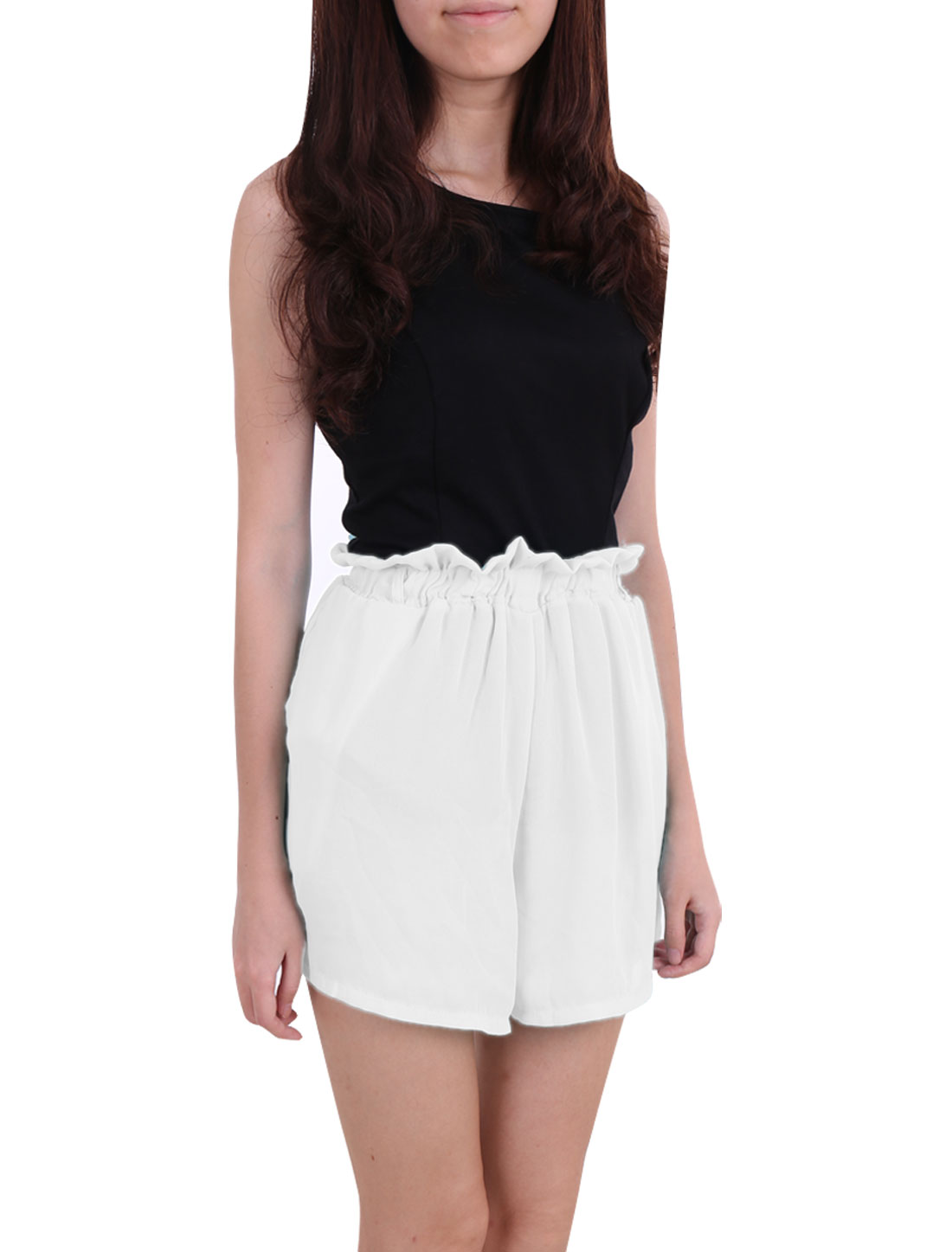 Women Elastic Waist Belt Loop Mini Shorts Trousers White XS