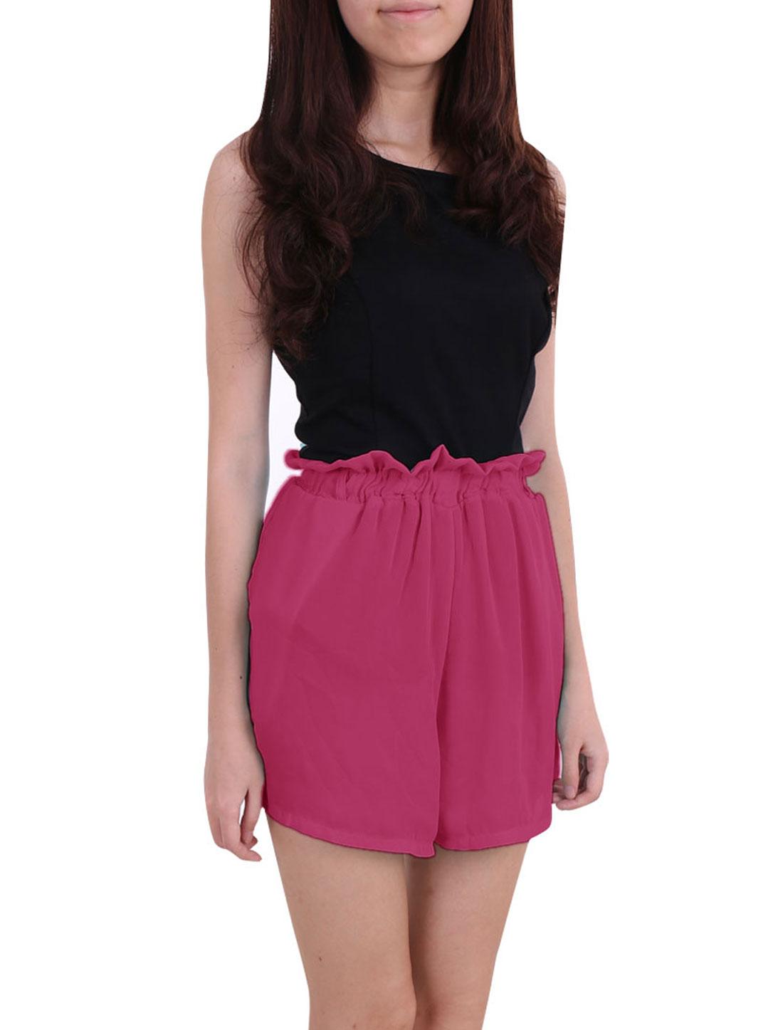 Women Ruffled Elastic High Waist Chiffon Mini Shorts Pink XS