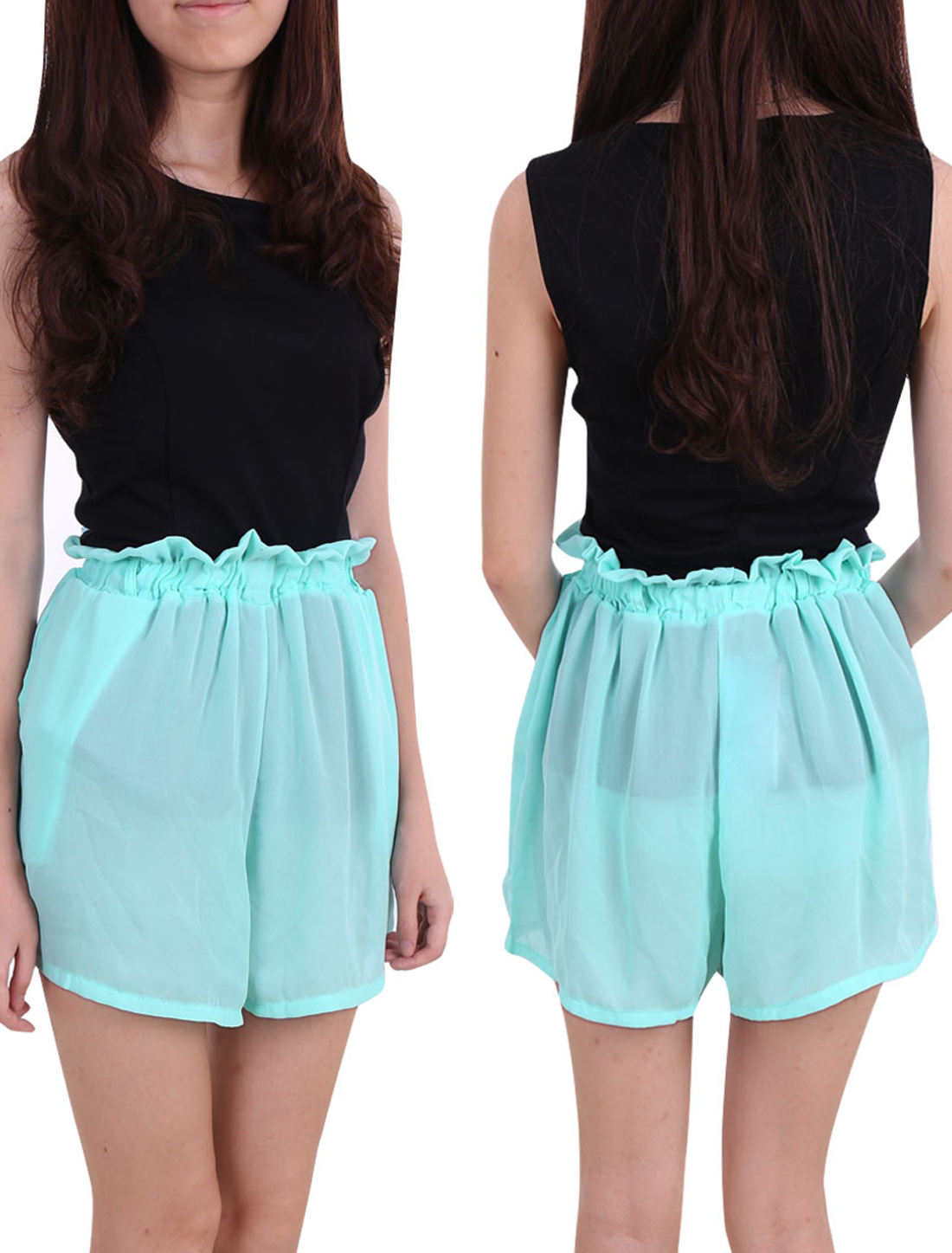 Women Ruffled Elastic High Waist Chiffon Mini Shorts Green XS