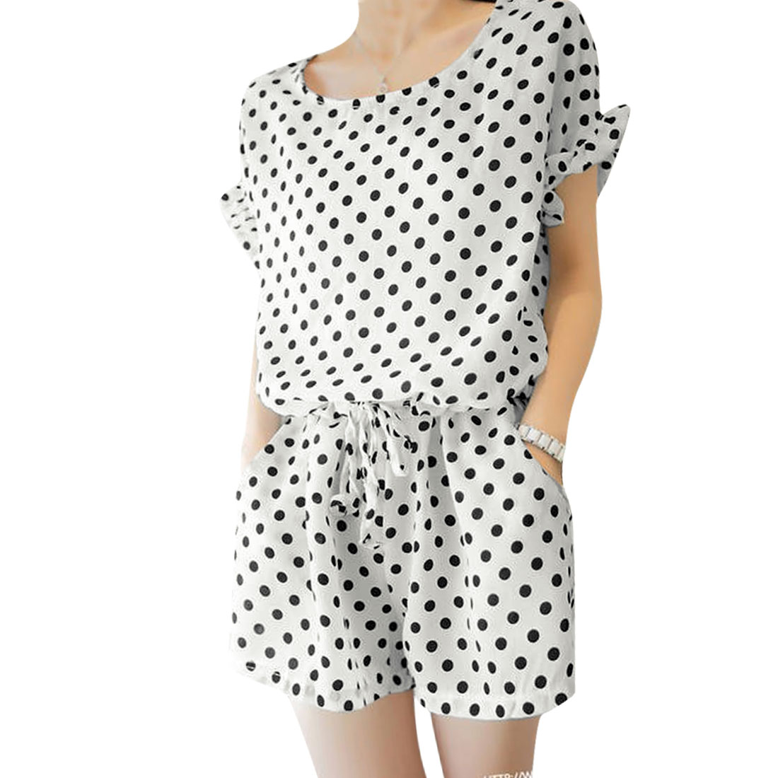 Ladies Dots Prints Chiffon Hidden Zipper Back Romper White M