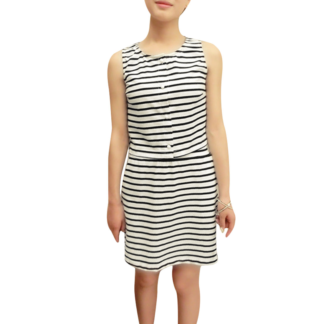 Ladies Single-breasted Round Neck Tops w Striped Skirts Black White XS
