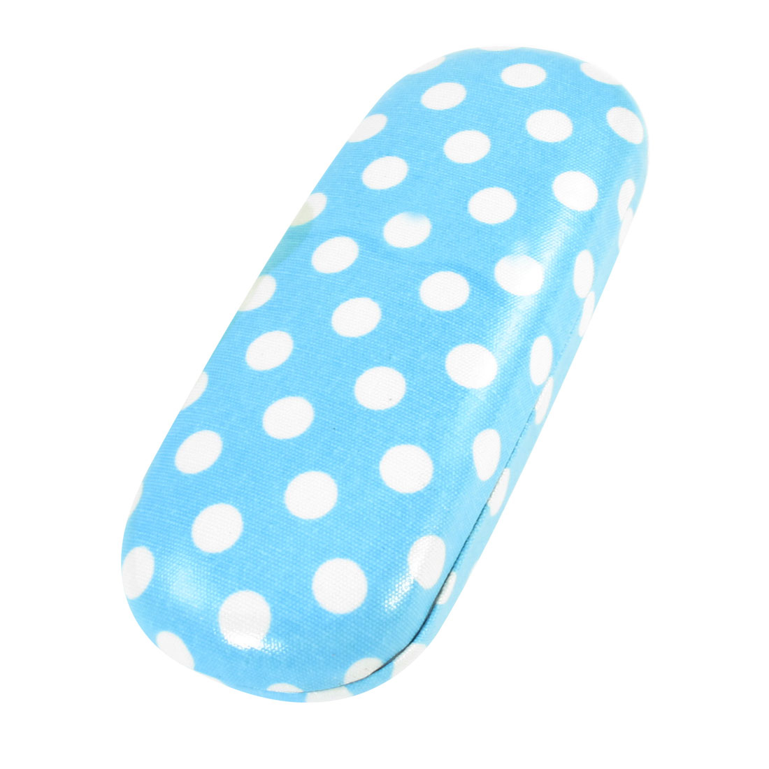 Handy White Dots Print Rectangle Light Blue Plastic Eyeglasses Glasses Case Box