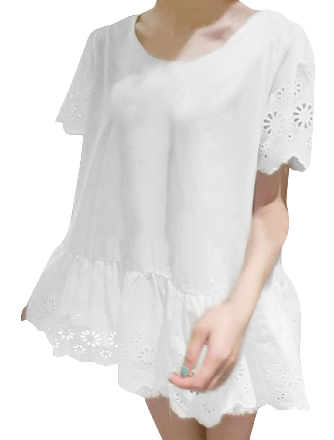 Lady White Round Neck Short Sleeve Flouncing Hem Pullover Top S