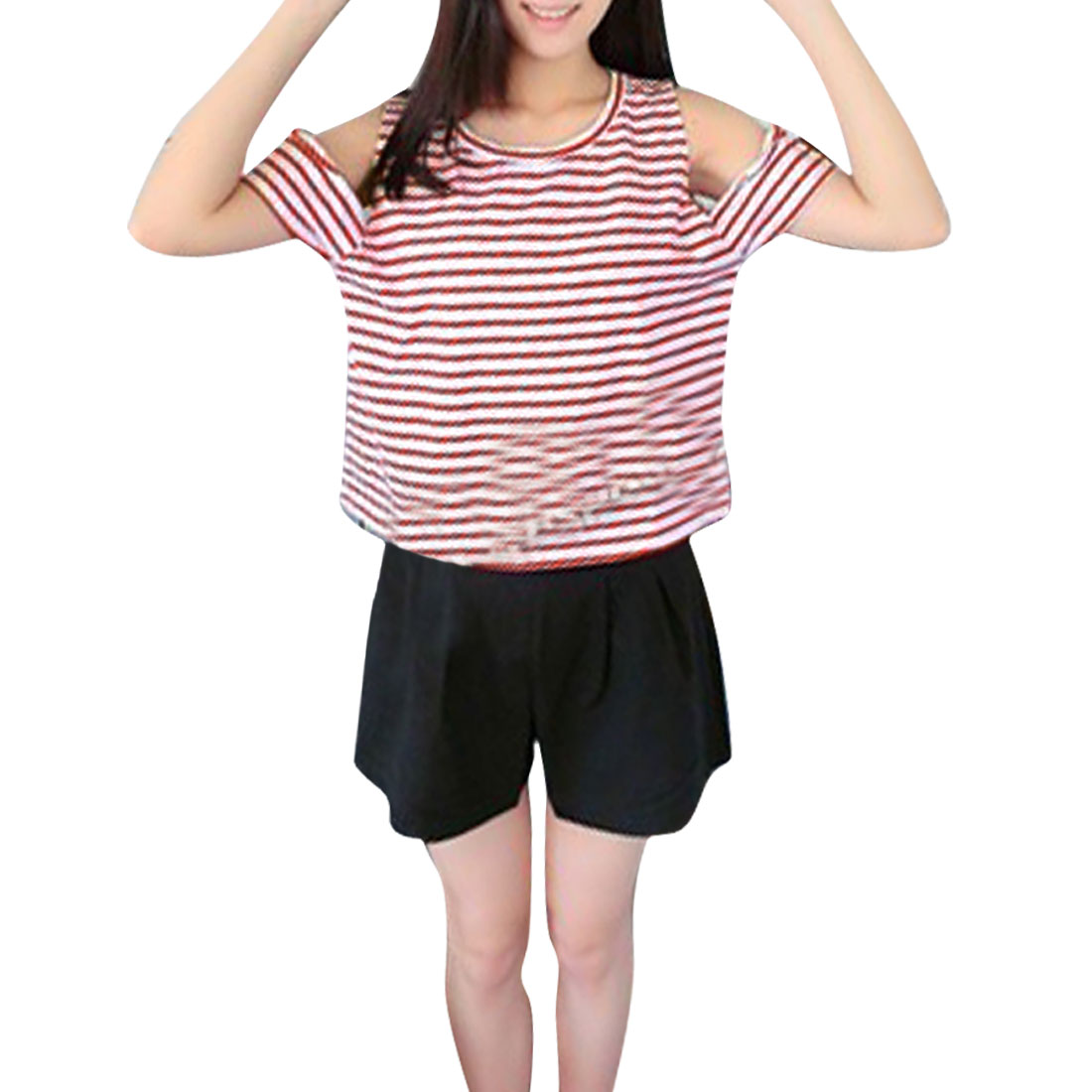 Women Round Neck Striped Short-sleeved Loose Shirts Red White M