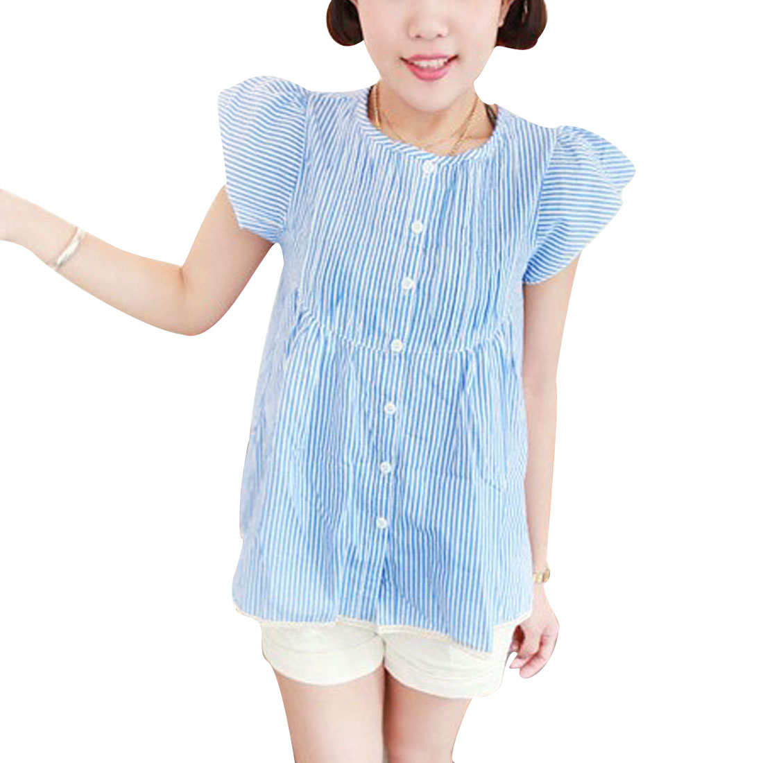 Lady Round Neck Single Breasted Stripes Pattern Blouse White Light Blue XS