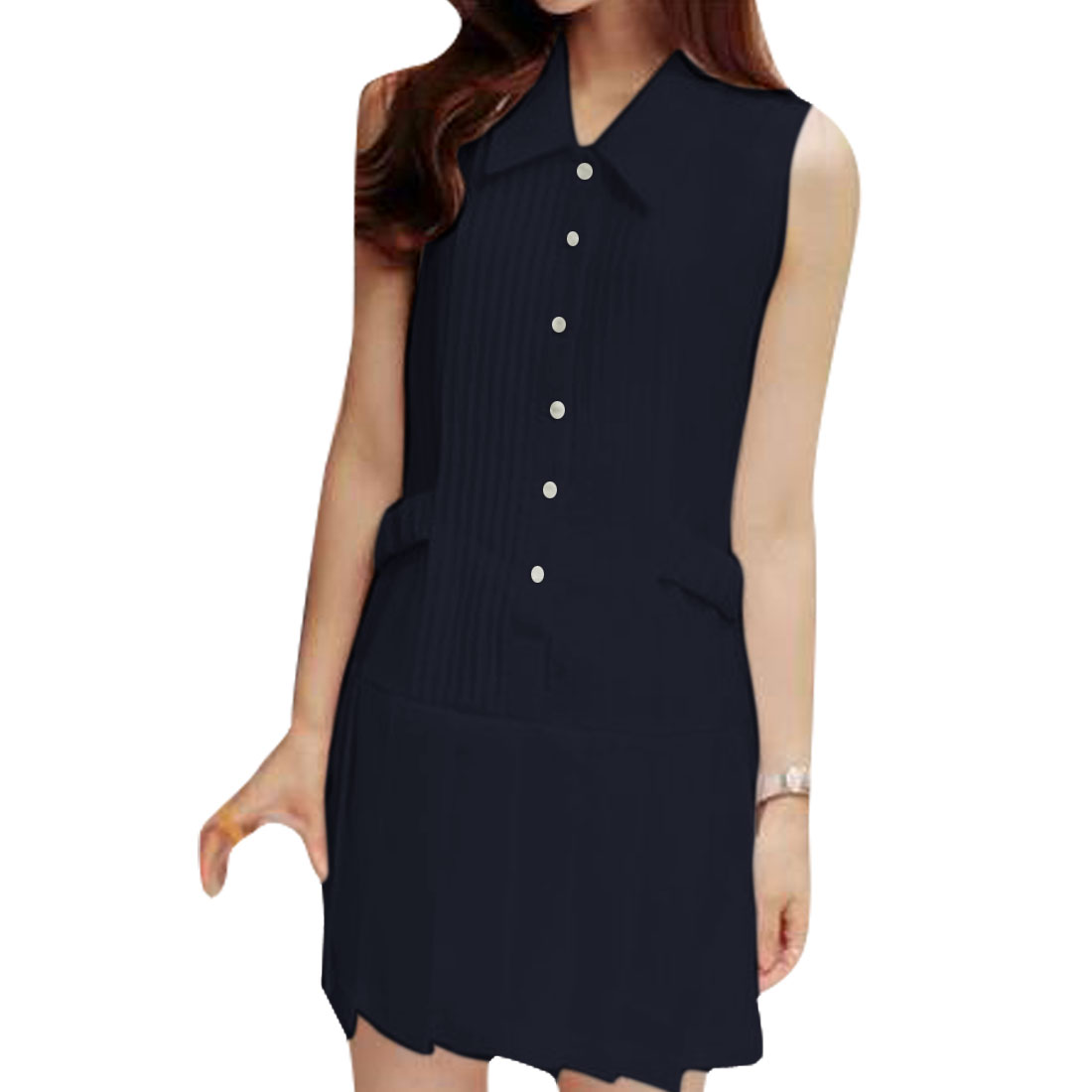 Ladies Buttons Up Front Point Collar Pleated Modern Dress Dark Blue XS