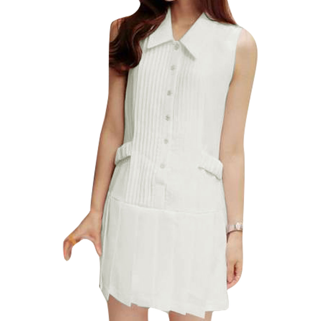 Ladies Chiffon Point Collar Buttons Pleated Chic Dress White XS
