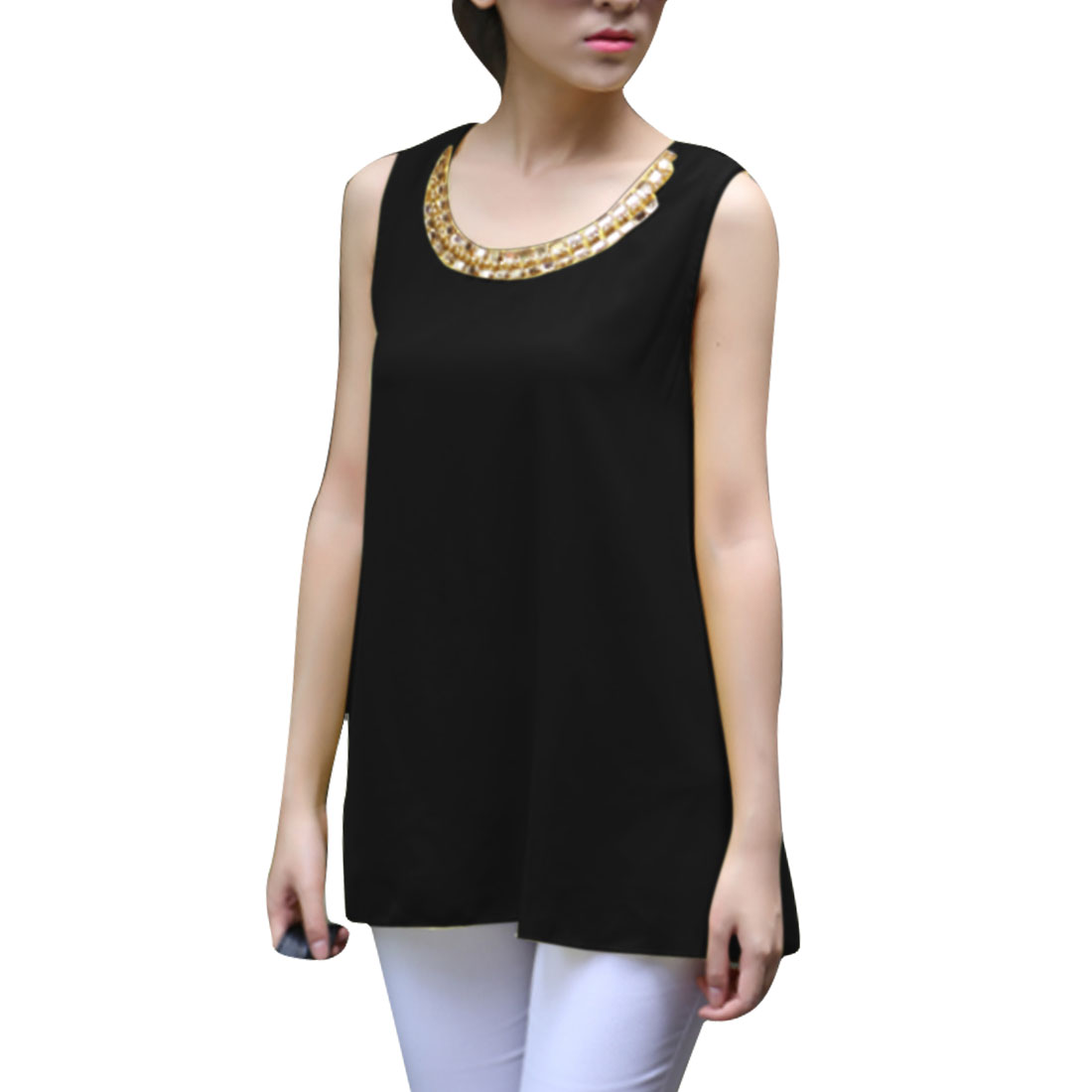 Lady Round Neck Faux Diamond Decor Fashion Tops Blouses Black S