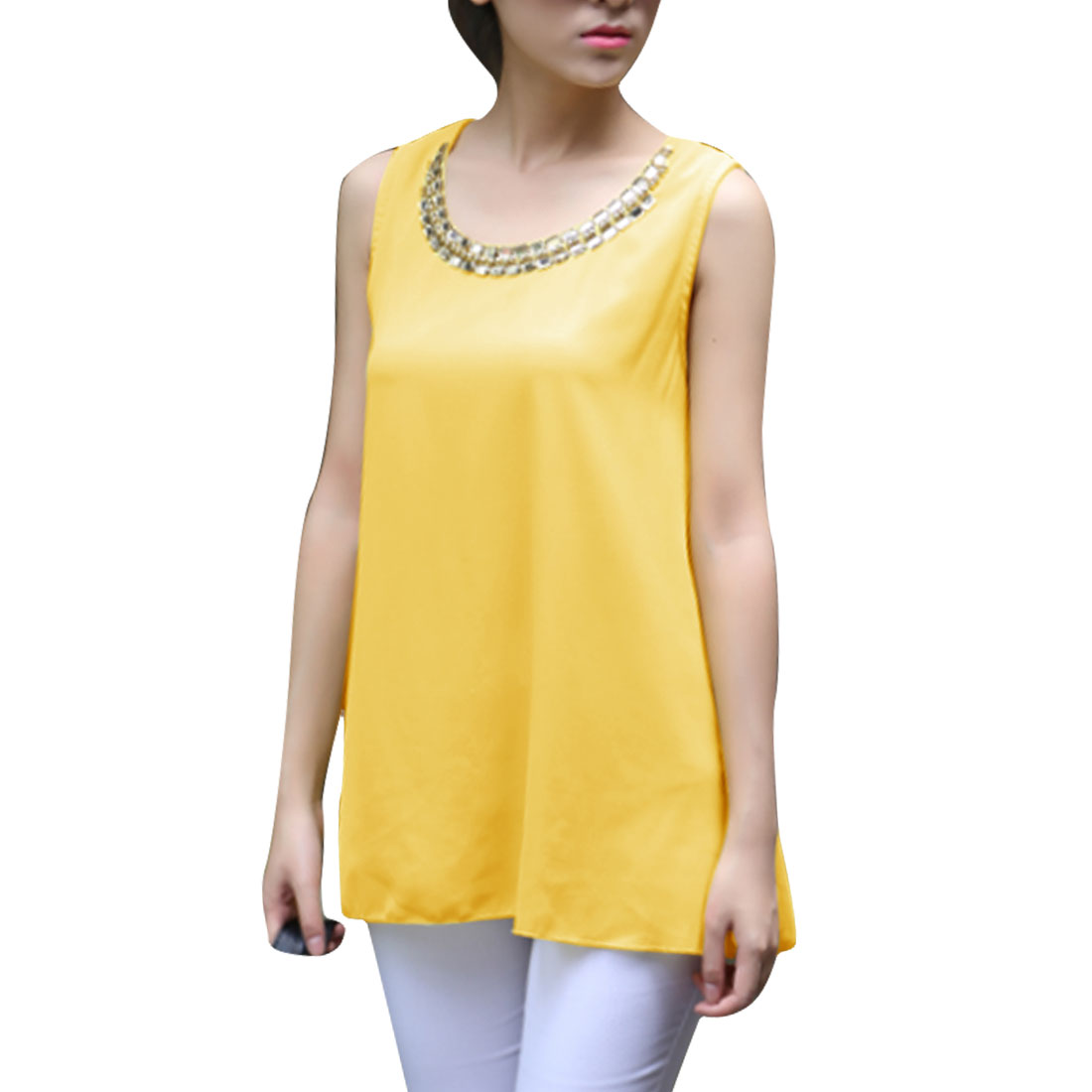 Women Sleeveless Chiffon Rhinestone Casual Tank Tops Yellow S