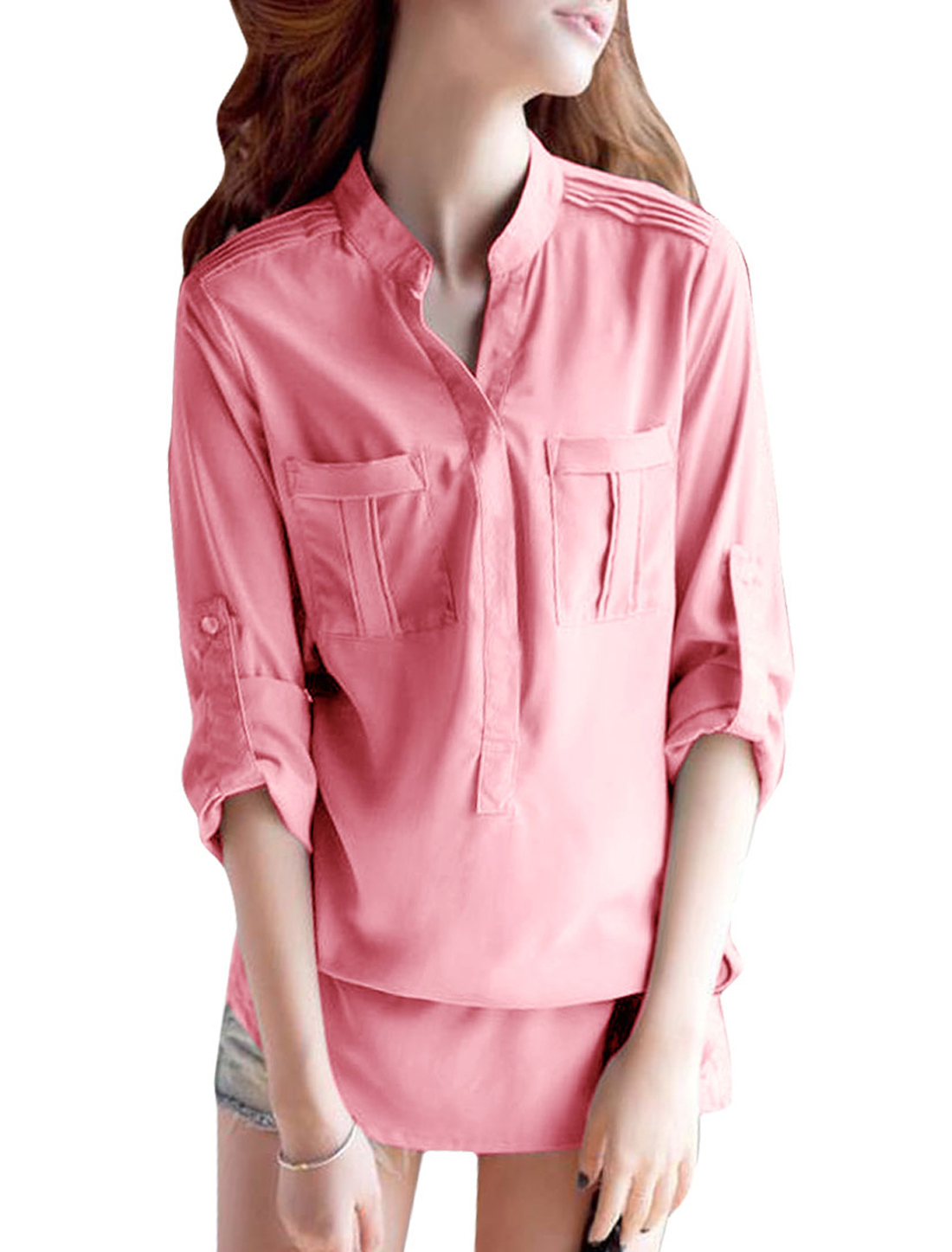 Women Long-sleeved Single Breasted Chiffon Tops Blouses Pink S