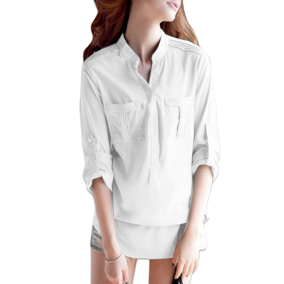 Ladies Breasted Pockets Buttons Front Stand Collar Shirt White S