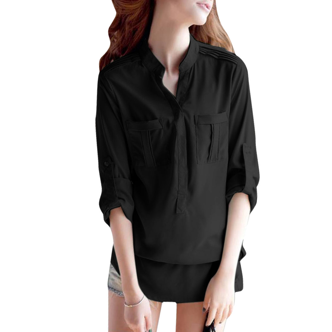 Lady Long Sleeve Pockets Buttoned Cuff Tops Shirts Black S