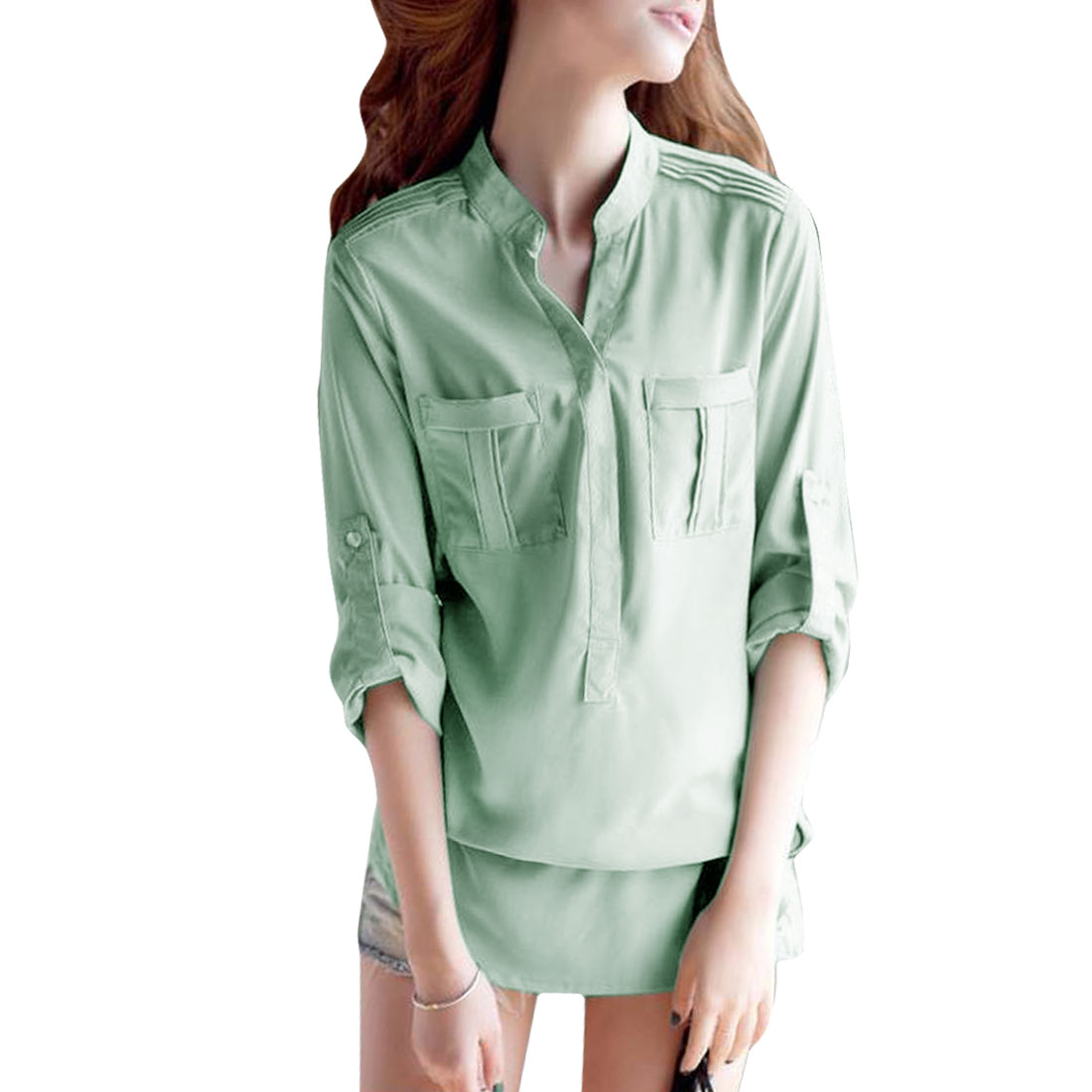 Ladies Chiffon Stand Collar Buttoned Front Long Shirt Light Green S