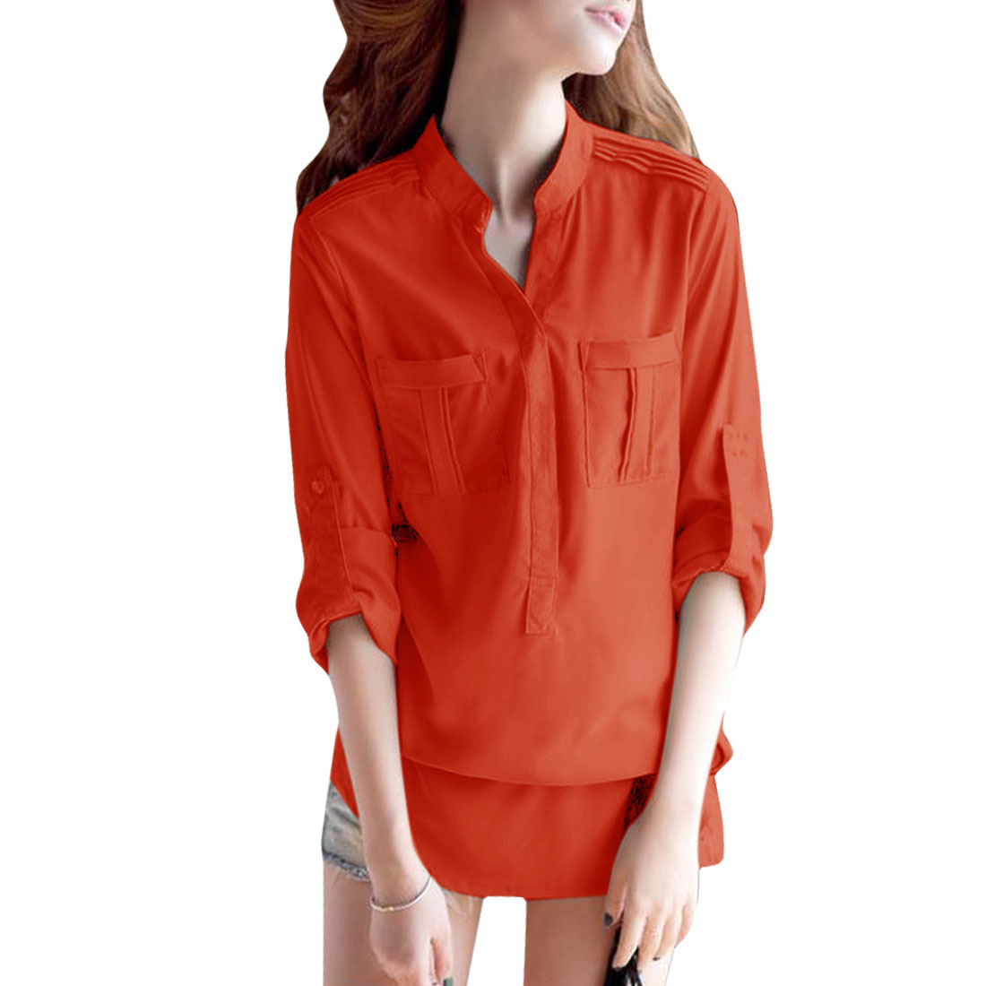 Lady Long Sleeved Chest Pockets Buttoned Cuff Tops Shirts Orange-red S