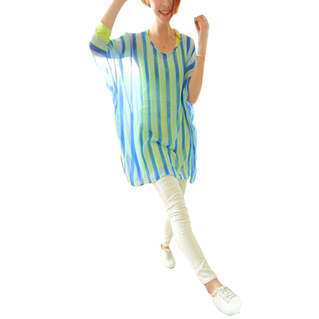 Woman Round Neck Elbow Batwing Sleeve Stripes Pattern White Blue Blouse M
