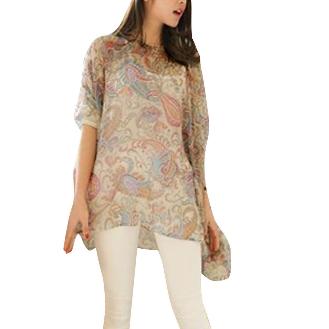 Women Batwing Sleeve Patchwork Cuffs Paisleys Blouse Multicolor L
