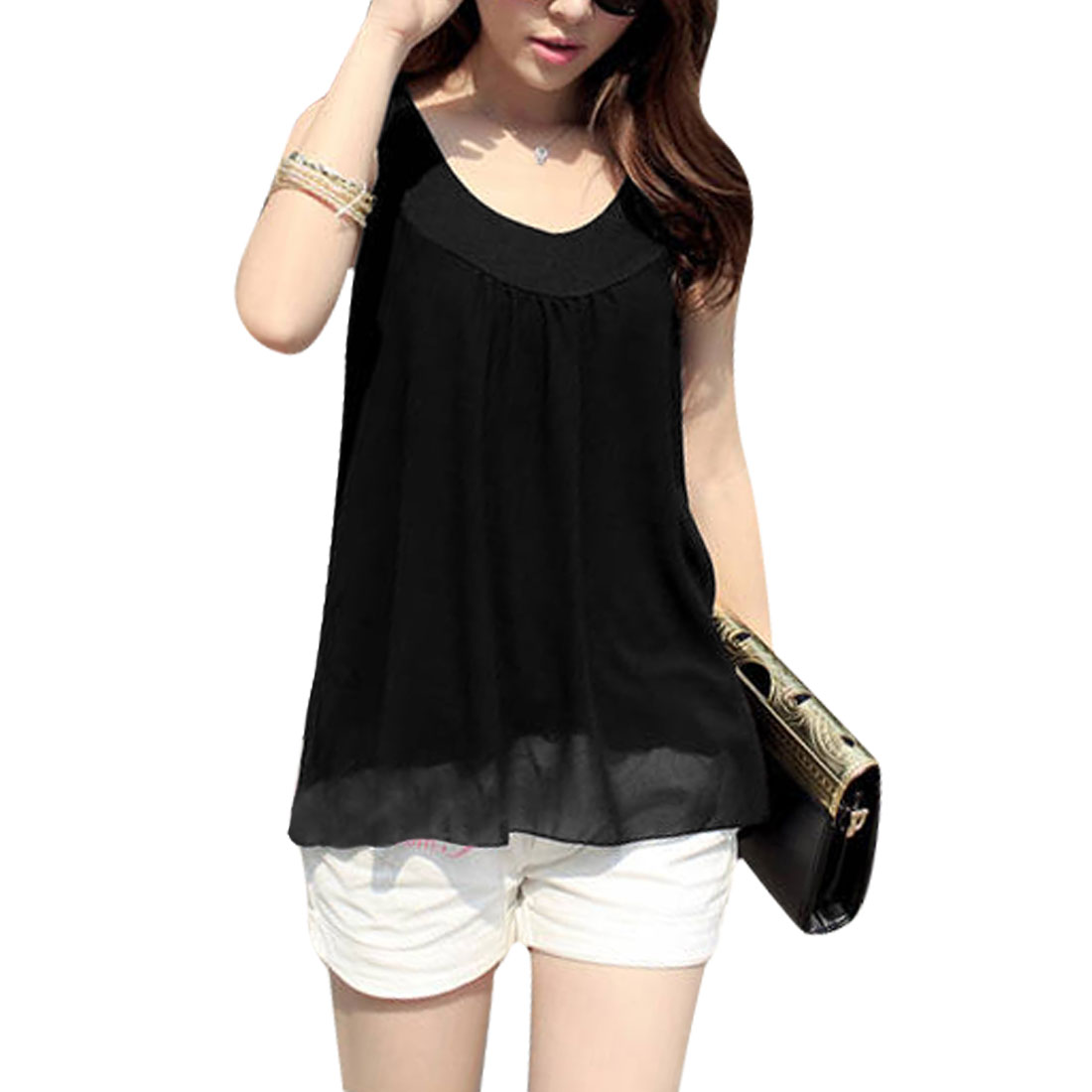 Woman Chic Conrast Color Splice Scoop Neck Sleeveless Black Tank Top S