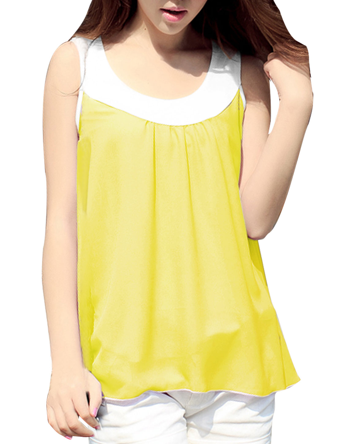 Stylish Light Yellow Scoop Neck Flare Hem Design Tank Top for Lady S
