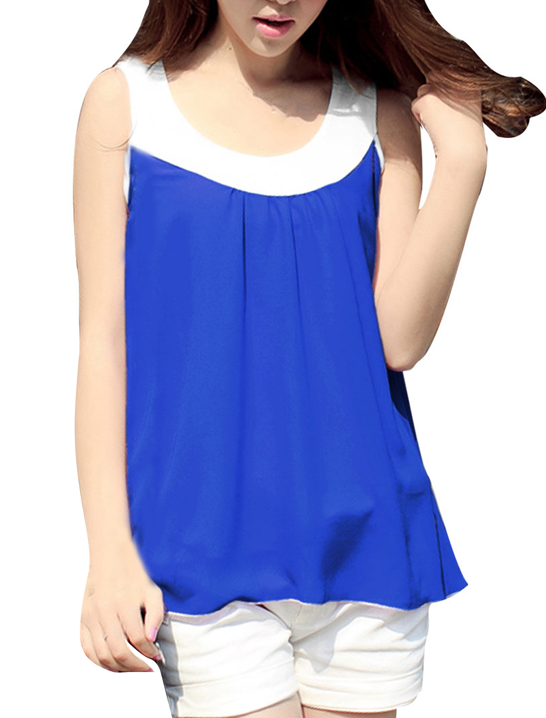 Women New Fashion Scoop Neck Sleeveless Royalblue Chiffon Tank Tops S