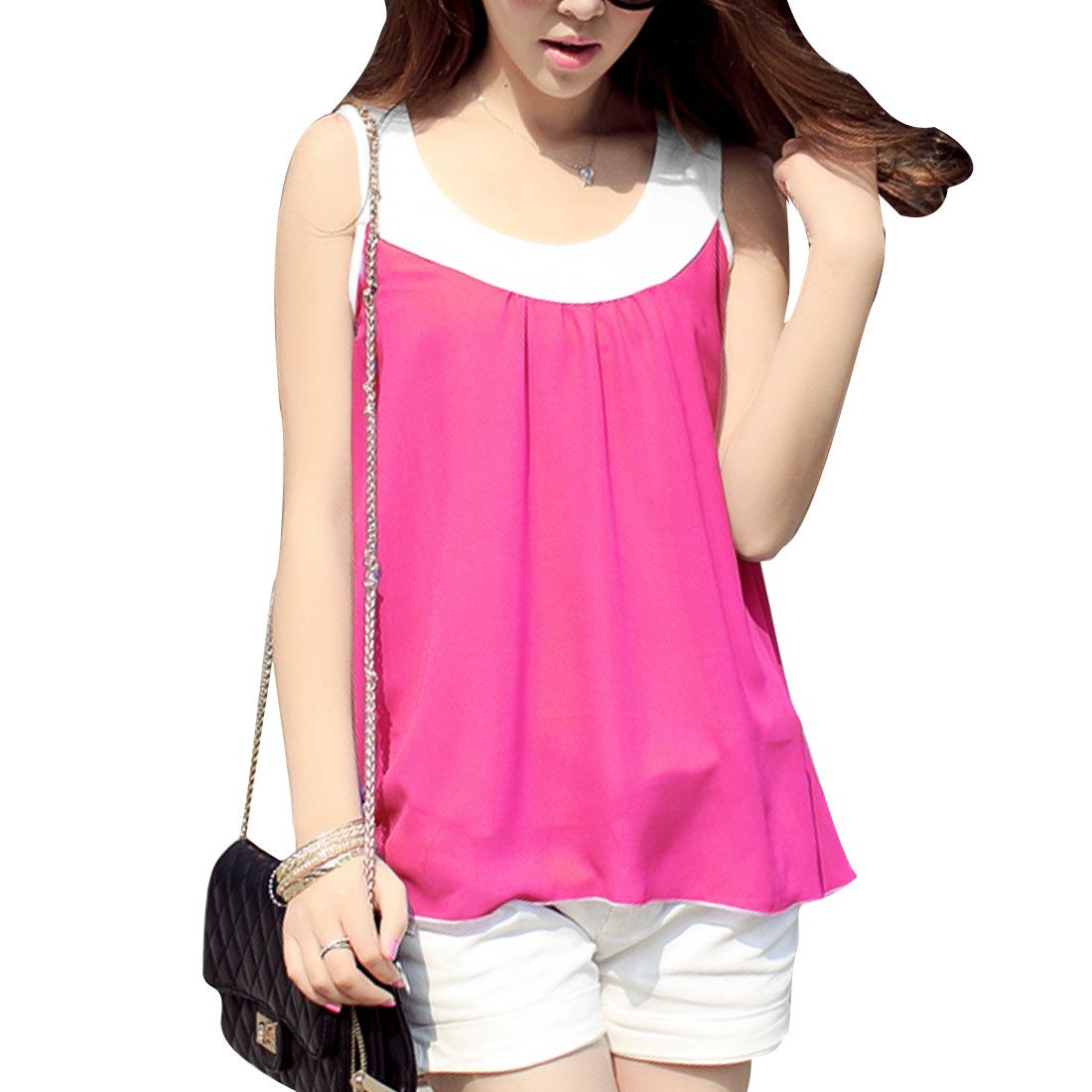 Ladies Chic Patchwork Scoop Neck Sleeveless Flare Hem Fuchsia Chiffon Tops S