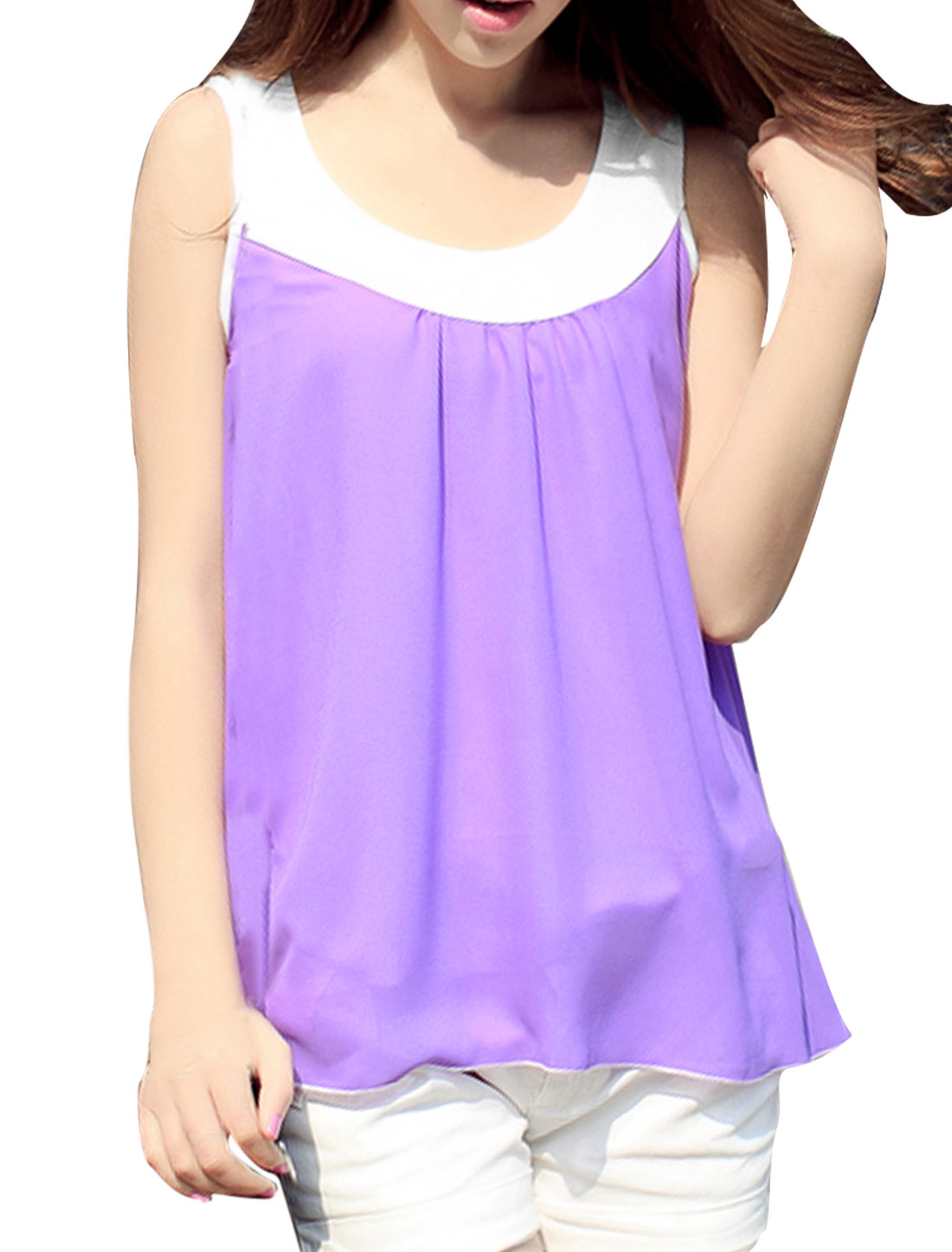 Woman NEW Lavender Color Scoop Neck Sleeveless Chiffon Tank Tops S