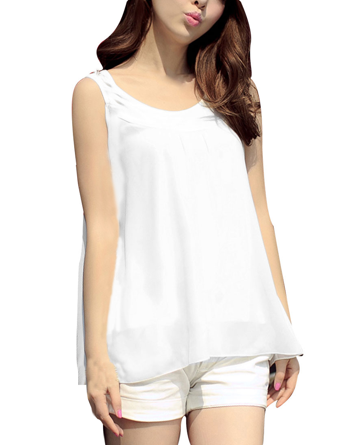 Woman New Fashion Scoop Neck Sleeveless White Summer Tank Tops S