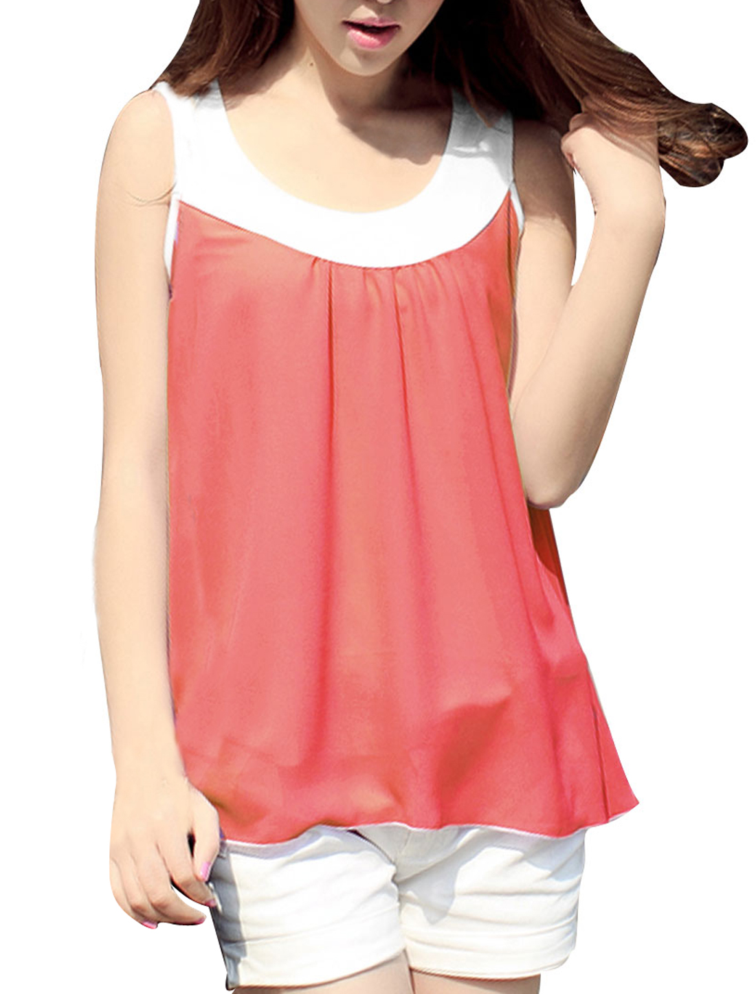 Stylish Coral Pink Semi-Sheer Chiffon lined Tank Tops for Lady S