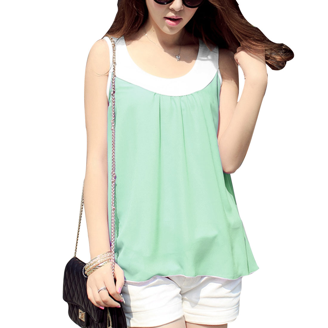 Lady Chic Light Green Semi-Sheer Design Flare Hem Summer Tank Tops S